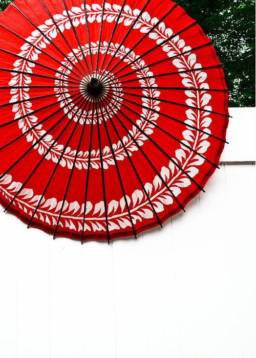 Abstract Greeting Card featuring the photograph Paper Umbrella With Swirl Pattern On Fence by Amy Cicconi