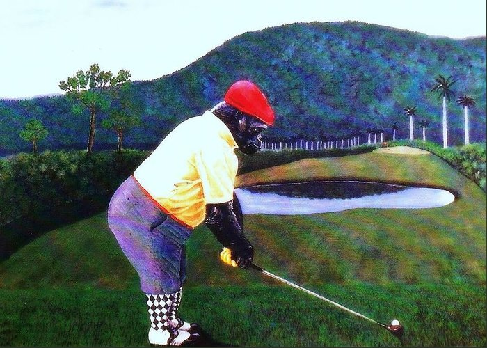 Golf Greeting Card featuring the painting Par Four by George I Perez