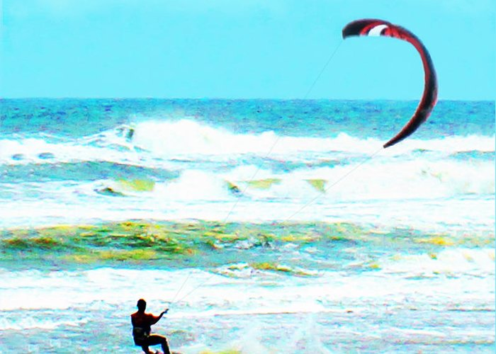 Wind-surfing Greeting Card featuring the photograph Para-surfer  by CHAZ Daugherty