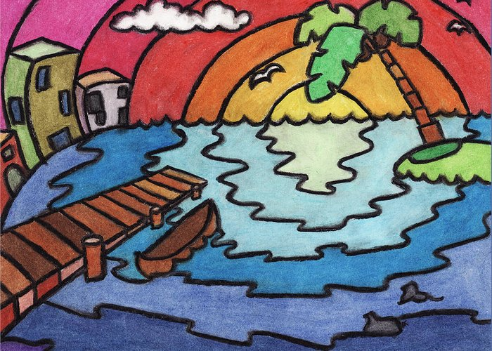 Landscape Greeting Card featuring the pastel Paradise by Ashley King