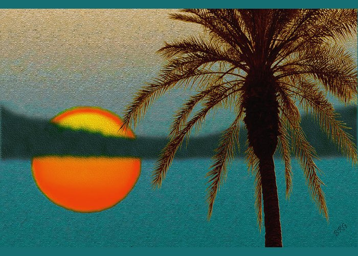 Sunset Greeting Card featuring the digital art Paradise Sun by Ben and Raisa Gertsberg