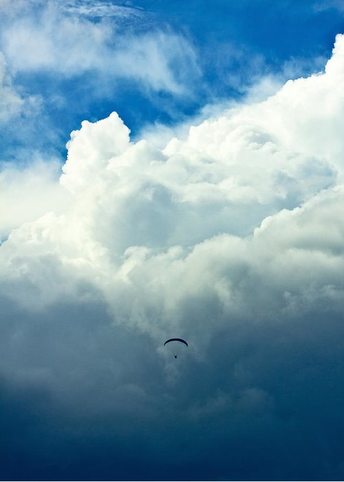 Airport Greeting Card featuring the photograph Paragliding In Changing Weather by Viacheslav Savitskiy