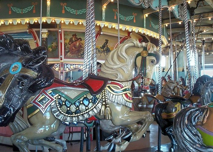 Carousel Greeting Card featuring the photograph Paragon Carousel Nantasket Beach by Barbara McDevitt
