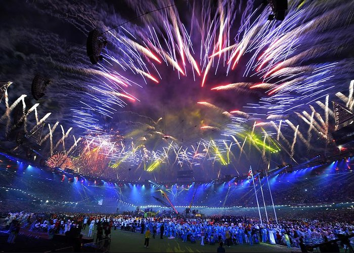 Firework Greeting Card featuring the photograph Paralympics 2012 Closing Ceremony by Science Photo Library