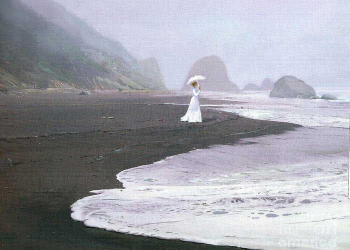 Lady Greeting Card featuring the painting Parasol Beach by Robert Foster
