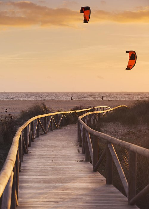 Path Greeting Card featuring the photograph Parasurfing Tarifa, Costa De La Luz by Ben Welsh