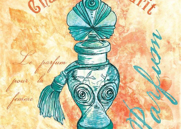 Perfume Greeting Card featuring the painting Parfum by Debbie DeWitt