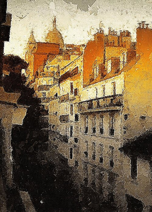 Paris Greeting Card featuring the painting Paris Apartment View Of Montmartre by Marshall Thomas