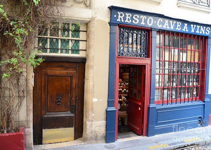 Paris Photography Greeting Card featuring the photograph Paris Architecture Brown Door And Wine Shop - Paris Resto Cave A Vins Street Shoppe by Kathy Fornal