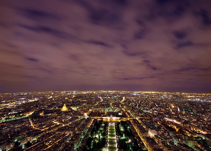 Architecture Greeting Card featuring the photograph Paris At Night by Ioan Panaite