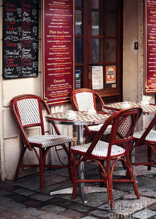 Paris Cafe Greeting Card featuring the photograph Paris Cafe by John Rizzuto
