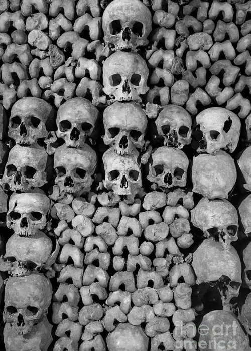 Bone Greeting Card featuring the photograph Paris Catacombs by Inge Johnsson
