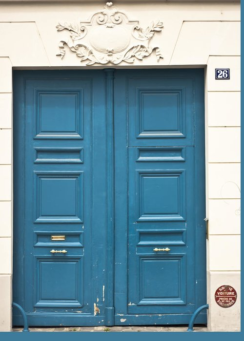 Blue Door In Paris Greeting Card featuring the photograph Paris Door by Georgia Fowler