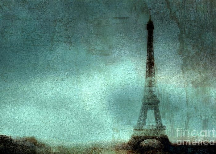 Eiffel Tower Prints Greeting Card featuring the photograph Paris Dreamy Eiffel Tower Teal Aqua Abstract Art Photo - Paris Eiffel Tower Painted Photograph by Kathy Fornal
