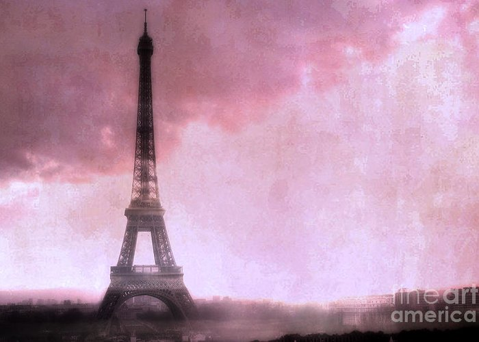 Eiffel Tower Paintings Greeting Card featuring the photograph Paris Dreamy Pink Eiffel Tower Abstract Art - Romantic Eiffel Tower With Pink Clouds by Kathy Fornal