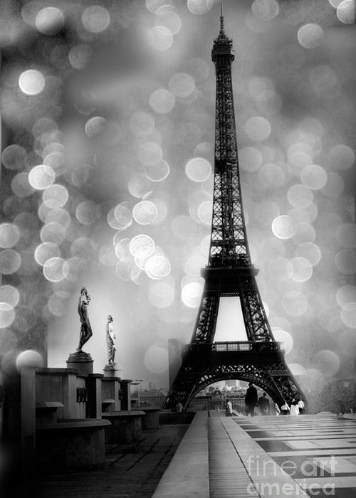 Paris greeting card featuring the photograph paris eiffel tower surreal black and white photography eiffel