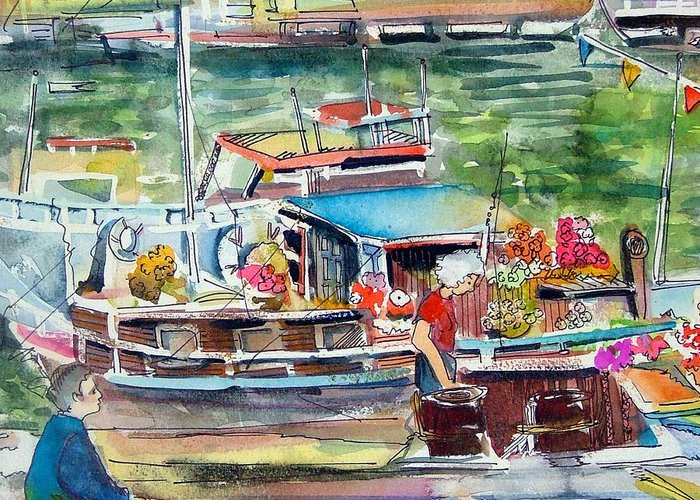 Boat Greeting Card featuring the painting Paris House Boat by Mindy Newman
