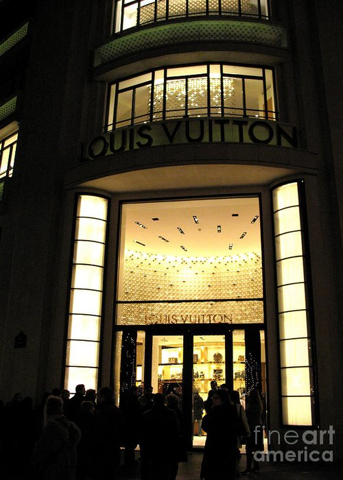Louis Vuitton Paris Store Greeting Card featuring the photograph Paris Louis Vuitton Boutique Store Front - Paris Night Photo Louis Vuitton - Champs Elysees by Kathy Fornal