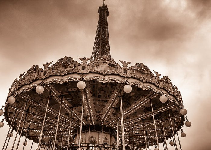 Paris Greeting Card featuring the photograph Paris Merry Go Round Toned by Georgia Fowler