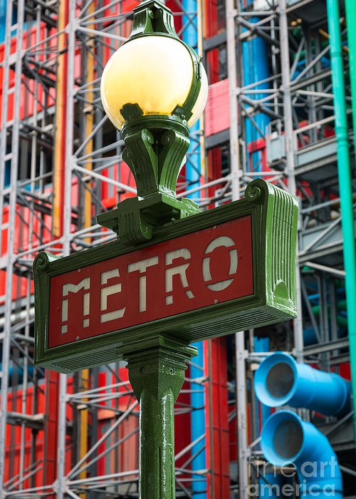 Centre Pompidou Greeting Card featuring the photograph Paris Metro by Inge Johnsson