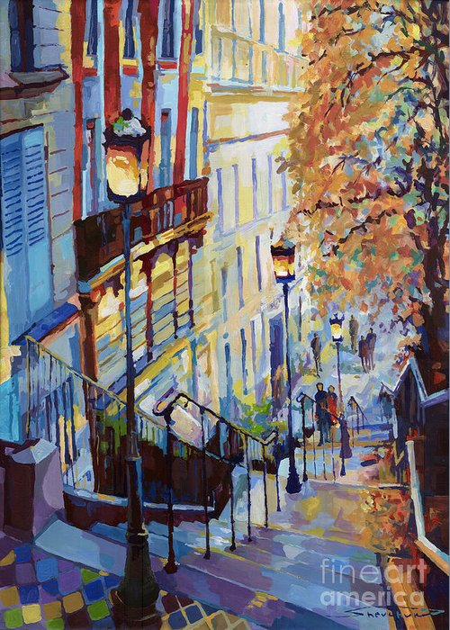 Acrilic Greeting Card featuring the painting Paris Monmartr Steps by Yuriy Shevchuk