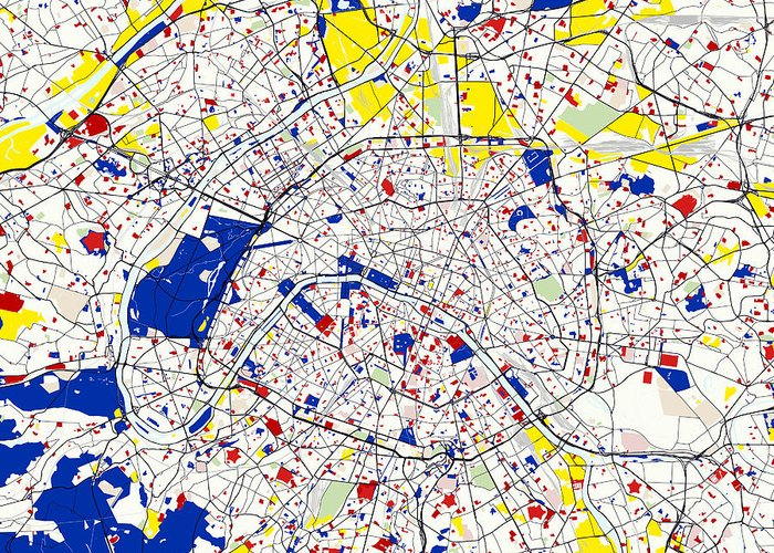 Paris Piet Mondrian Style City Street Map Greeting Card for Sale by ...