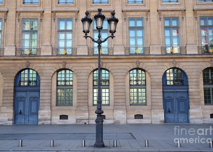 Paris Door Photographs Greeting Card featuring the photograph Paris Place Vendome Street Architecture Blue Doors And Street Lamps by Kathy Fornal