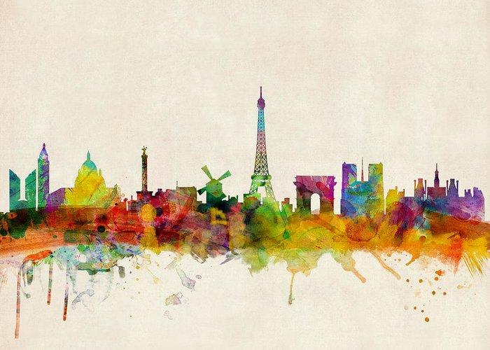 Paris Skyline Greeting Card for Sale by Michael Tompsett