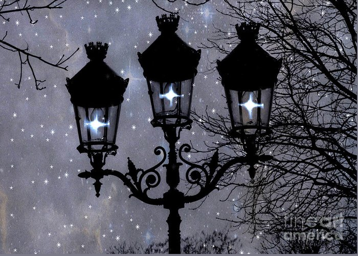 Paris Street Lamps Greeting Card featuring the photograph Paris Street Lights Lanterns - Paris Starry Night Dreamy Surreal Starlit Night Street Lamps Of Paris by Kathy Fornal