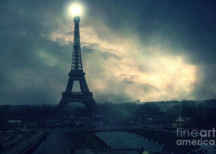 Paris Surreal Eiffel Tower Storm Clouds Sun Setting Teal Aqua Dark Green Eiffel Tower Landscape Greeting Card For Sale By Kathy Fornal