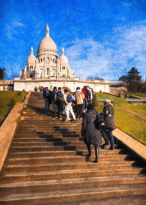 Basilique Du Sacre Coeur Greeting Card featuring the photograph Paris - The Long Climb To Sacre Coeur by Mark E Tisdale