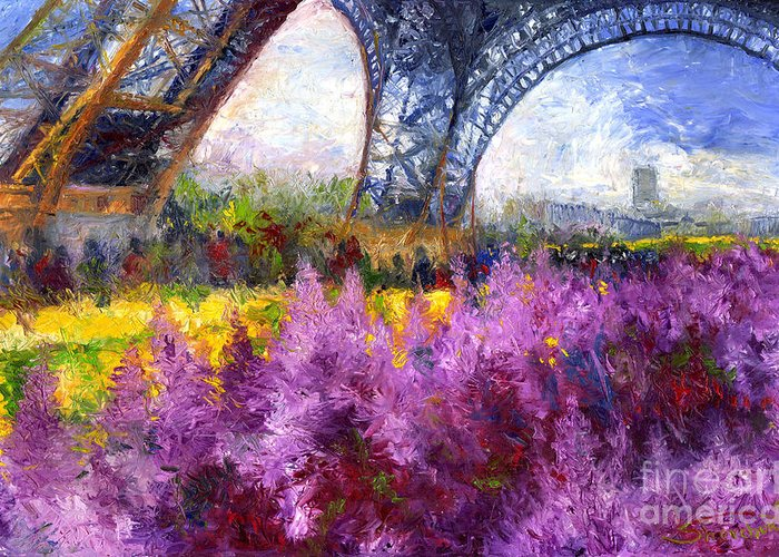 Oil Greeting Card featuring the painting Paris Tour Eiffel 01 by Yuriy Shevchuk