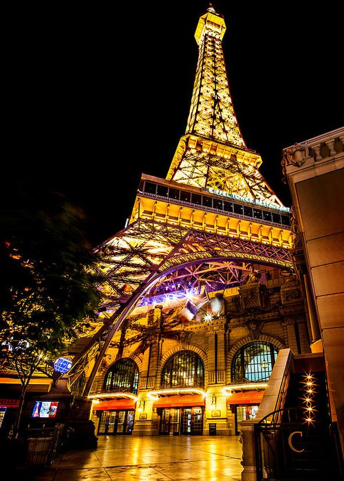 Las Vegas Greeting Card featuring the photograph Paris Under The Tower by Az Jackson