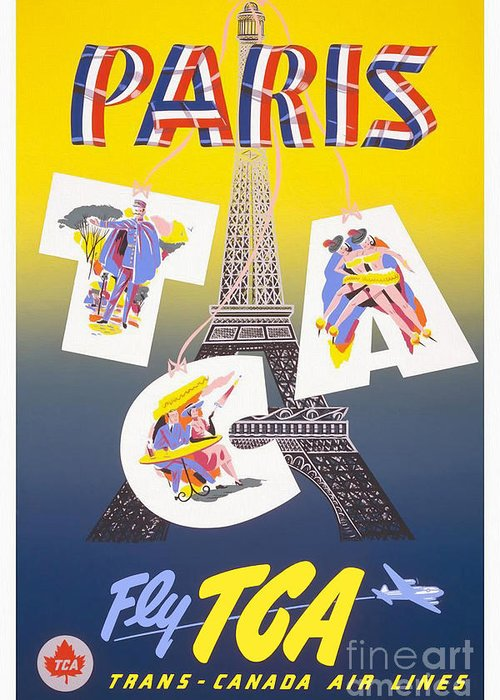 Paris Greeting Card featuring the drawing Paris Vintage Travel Poster by Jon Neidert