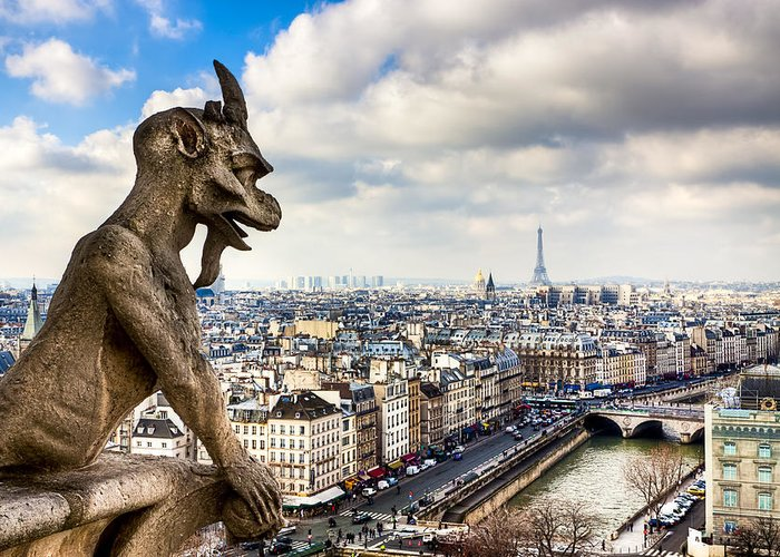 Notre Dame Greeting Card featuring the photograph Parisian Gargoyle Admires The Skyline by Mark E Tisdale