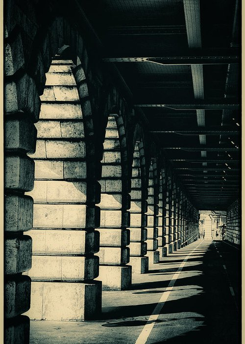 pont De Bercy Greeting Card featuring the photograph Parisian Rail Arches by Lenny Carter