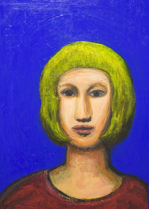 Expressionism Greeting Card featuring the painting Parisienne With A Bob Haircut by Kazuya Akimoto