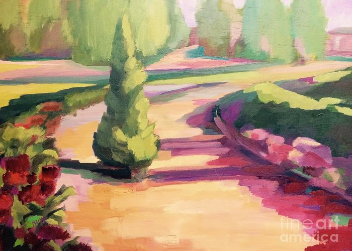 Park Greeting Card featuring the painting Park Atocha by Nelya Pinchuk