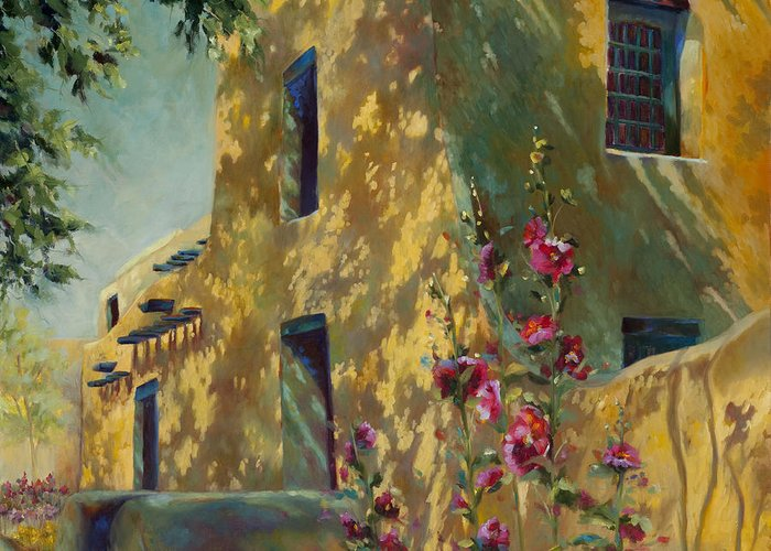 Adobe Greeting Card featuring the painting Park Avenue Pueblo by Chris Brandley