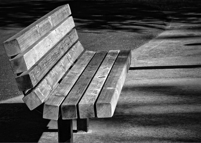 Photography Greeting Card featuring the photograph Park Bench by Ludwig Keck