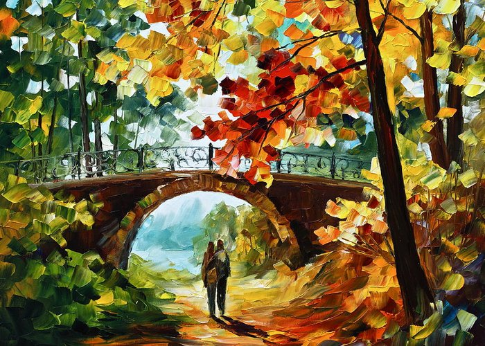 Park Greeting Card featuring the painting Park Bridge by Leonid Afremov
