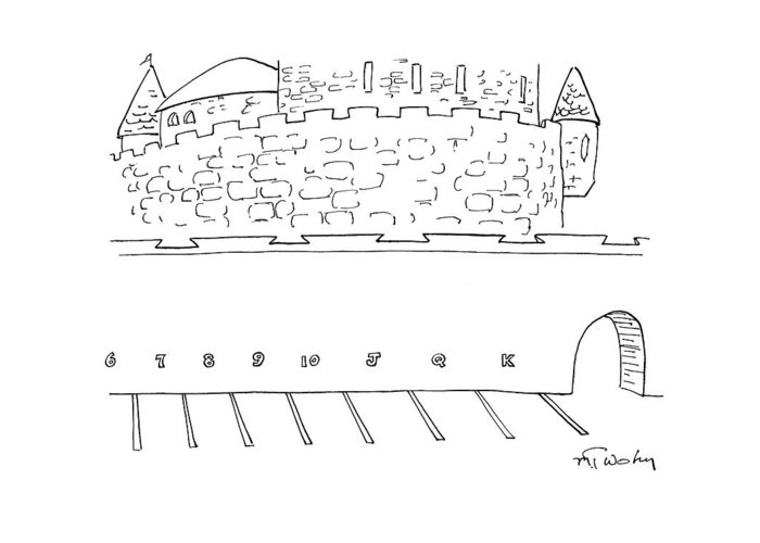 Parking Lot Greeting Card featuring the drawing Parking Lot Outside Of A Castle. The Parking by Mike Twohy
