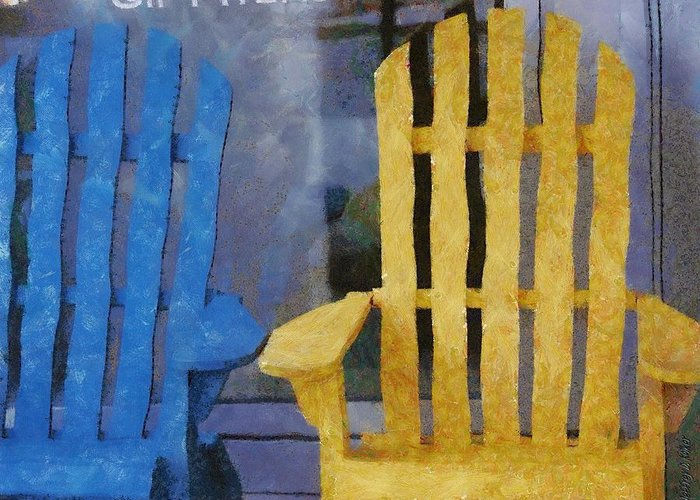 Chair Greeting Card featuring the painting Parking Spot by Jeffrey Kolker
