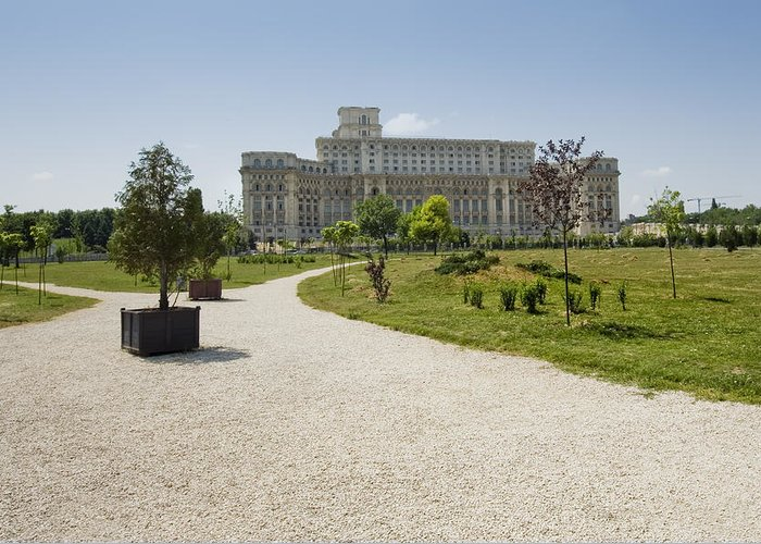 Park Greeting Card featuring the photograph Parliament At Summer Bucharest by Ioan Panaite