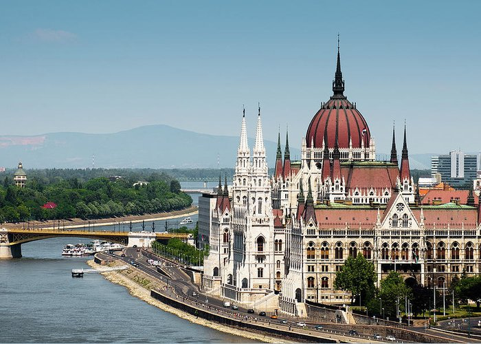 Clear Sky Greeting Card featuring the photograph Parliament On Danube River by Ph Ferdinando Scavone