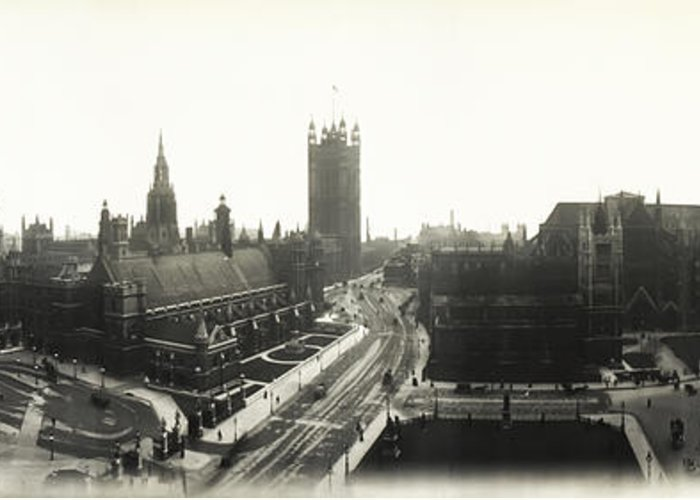 Parliament Greeting Card featuring the photograph Parliament Square London 1890 by Bill Cannon