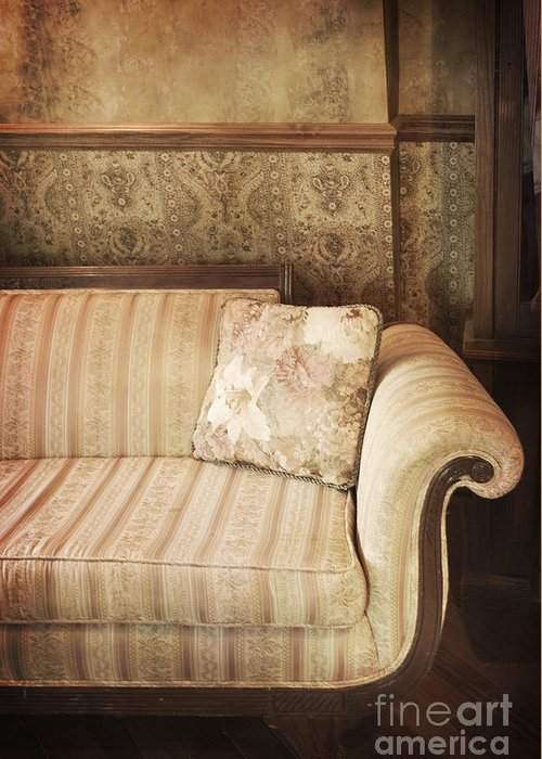Sofa; Couch; Ornate; Curve; Pillow; Wallpaper; Interior; Still Life; Living Room; Sitting Room; Formal; Victorian; Seating; Indoors; Room; Classic; Furniture; Nobody; Empty; Antique Greeting Card featuring the photograph Parlor Seat by Margie Hurwich
