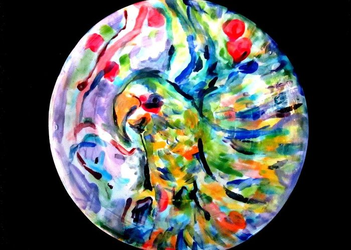 Ceramic Greeting Card featuring the photograph Parrot Plate by Martha Nelson