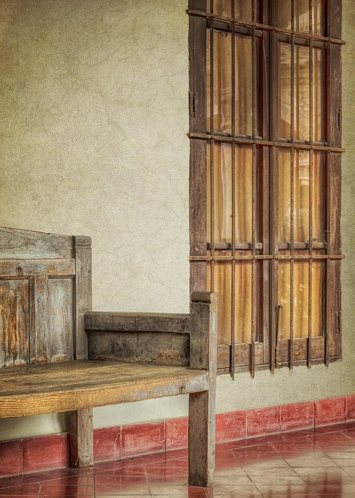 Alone Greeting Card featuring the photograph Part Of A Bench by Joan Carroll