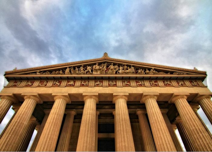 Parthenon From Below Greeting Card featuring the photograph Parthenon From Below by Dan Sproul
